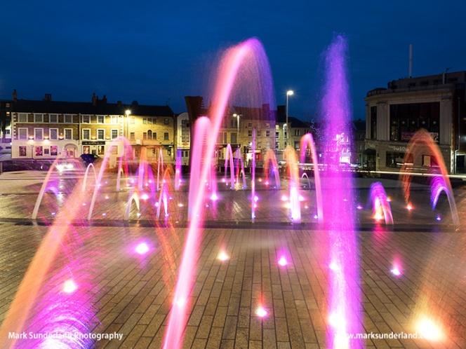 Fountain in Barnsley Pals Centenary Square