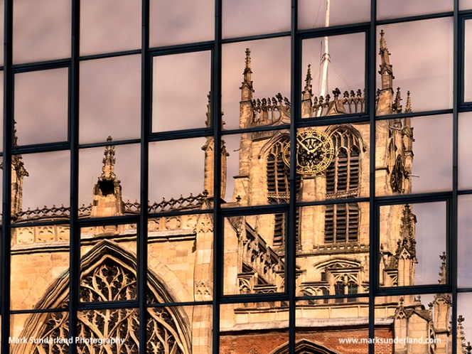 Hull Minster Reflected in a Modern Building