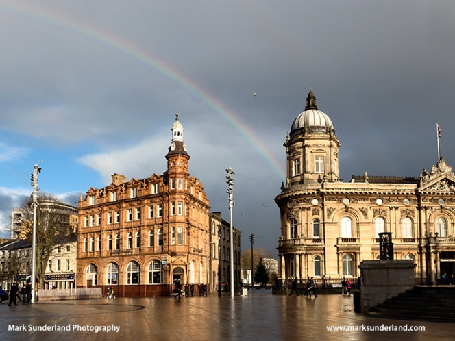 Rainbow over Queen Victoria Square in Hull
