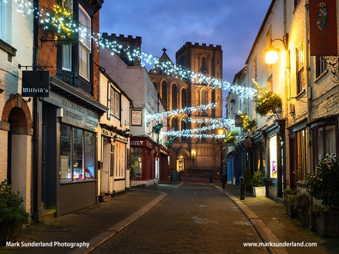 Kirkgate and Ripon Cathedral at Christmas