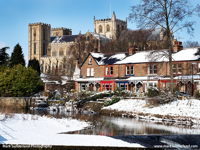 Ripon Cathedral from the River Skell in Winter