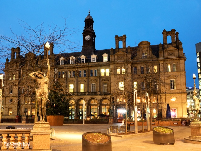 The Old Post Office Building at dusk in City Square Leeds