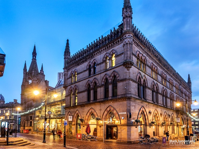 The Victorian Wool Exchange building at dusk, Bradford