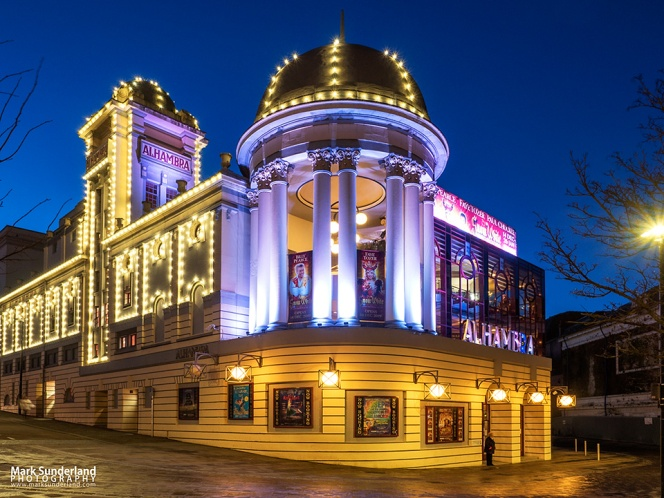 Lights on the Alhambra Theatre at dusk, Bradford