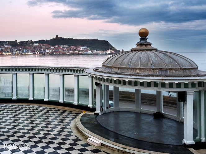 View across South Bay from the Sun Court at Scarborough Spa towards Castle Hill