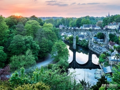 Knaresborough Viaduct at Sunset in Late Spring